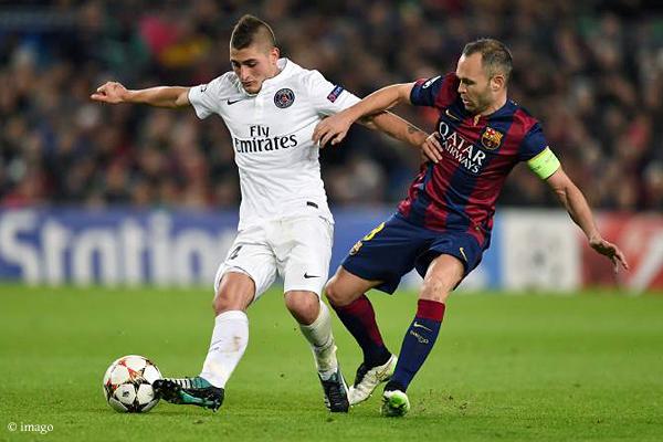 Marco Verratti (links), Torschütze beim 3:2-Sieg über Barca in der Vorrunde, wird PSG im Hinspiel fehlen.